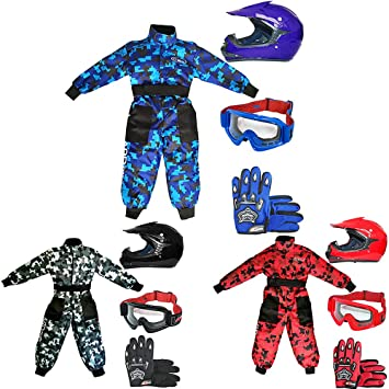 Leopard LEO-X15 Mate Rojo Casco de Motocross para Niños (S 49-50cm) + Gafas + Guantes (S 5cm) + Camo Traje de Motocross para Niños - XS (3-4 Años)