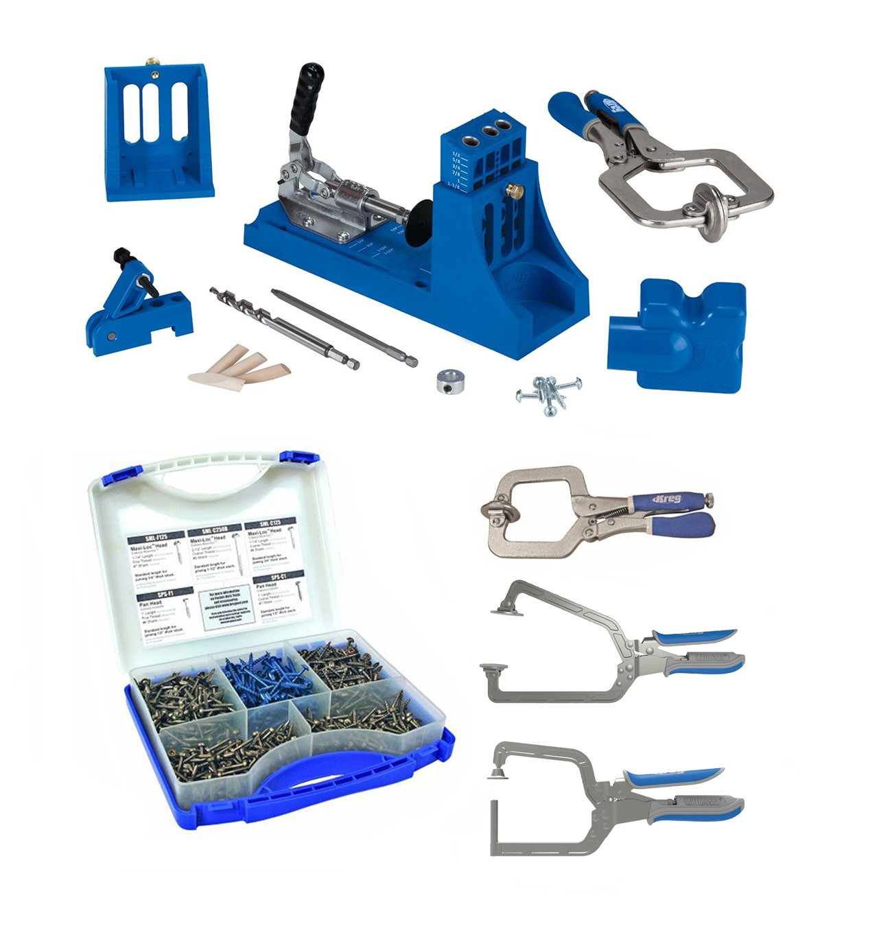 Kreg K4MS K4 Master System With Screw Kit & 3 Piece Clamp Set