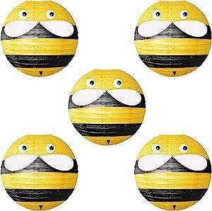 NICROLANDEE 5Pcs Assorted Popular Multi-Pattern Round Paper Lanterns Decorative for Home Decor, Wedding, Graduation, Anniversary, Baby Shower, Birthday Party Decorations (Yellow, 10inch)