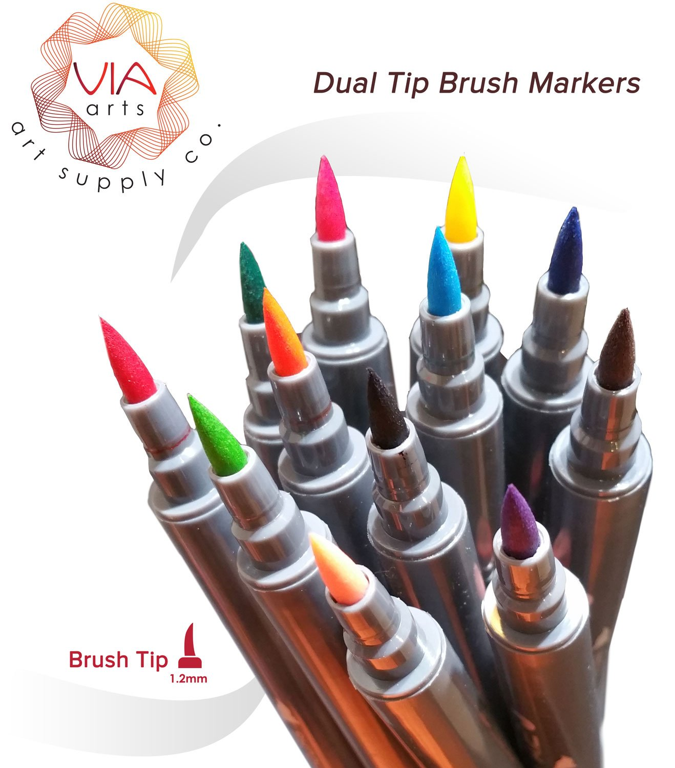 Via Art Dual Tip Brush Pens- By 12 - Brush Tip and Fine Tip Design/Manga Pens