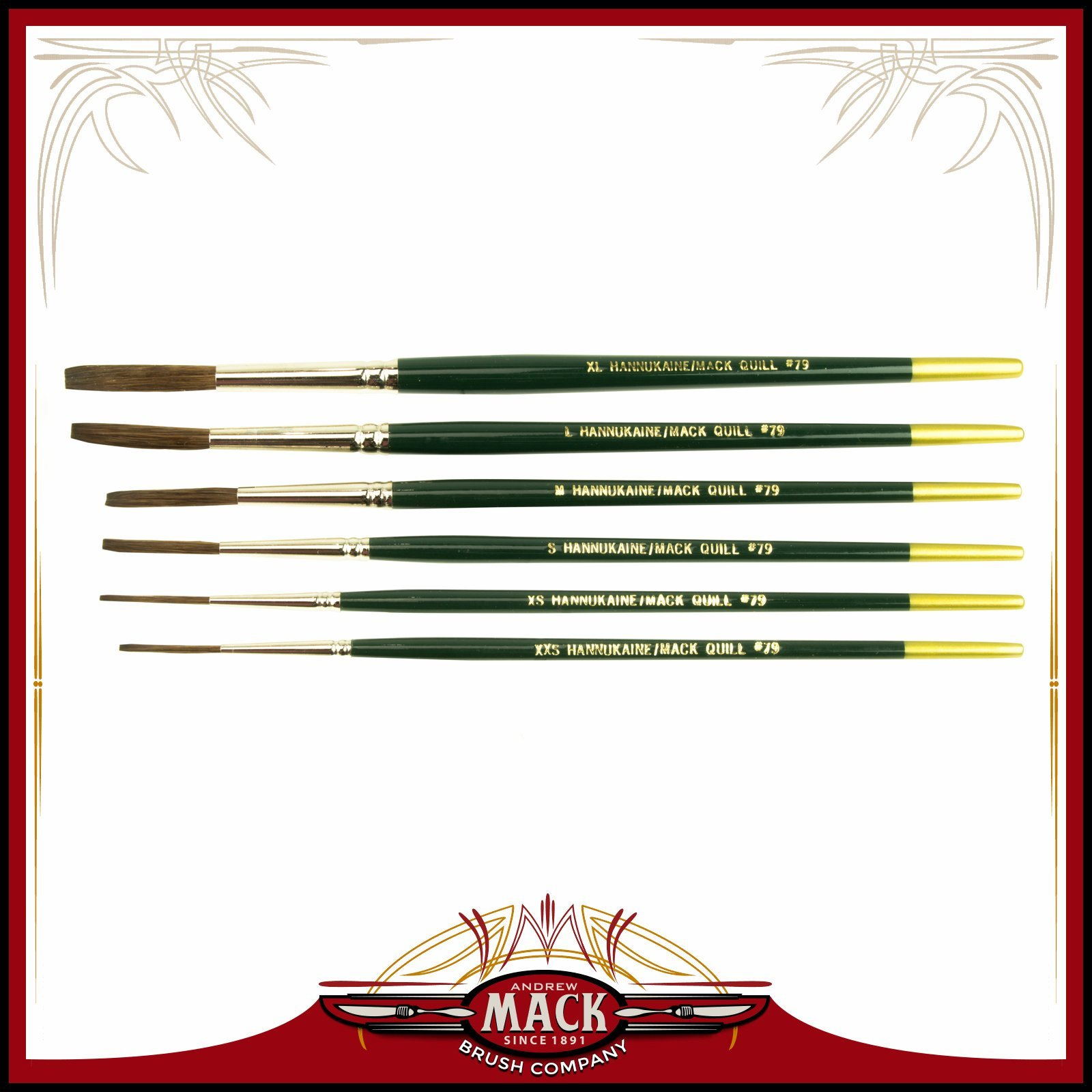 MACK Hannukaine Quill Pinstripe Brush/Brushes Set of 6 by Mack