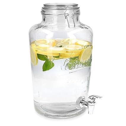 Navaris Dispensador de Bebidas con Capacidad de 8L - dispensador de Vidrio con Tapa Grifo y