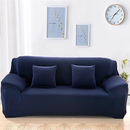 Funda para proteger el sofá, de tela elástica, lavable, de ajuste fácil y para asientos de una, dos o tres plazas, azul marino, 3 seater:74-90 Inch