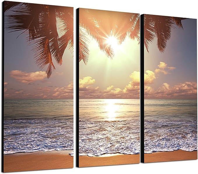 Paul Sinus Art 130x90cm Kunstdruck Tropischer Sandstrand Meer Palmen 3teiliges Wandbild Auf Leinwand Und Keilrahmen Fotobild Kunstdruck Artprint Küche Haushalt