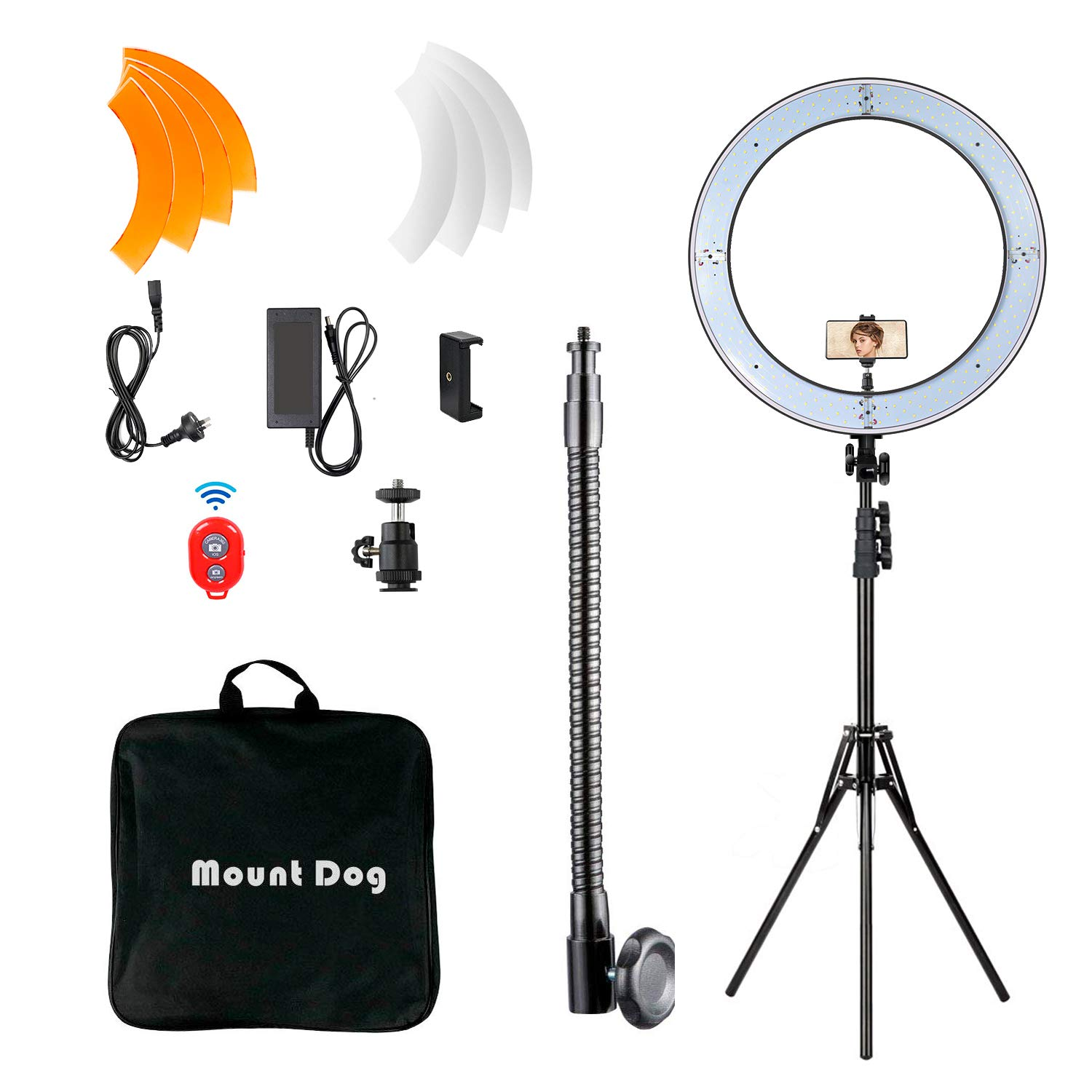 MOUNTDOG 18'' Ring Light Kit 55W Bluetooth LED Ringlight Lighting with Tripod Stand Dimmable 3200K/5500K YouTube Circle Lighting Ringlights for Makeup Video Photography Blogging Portrait