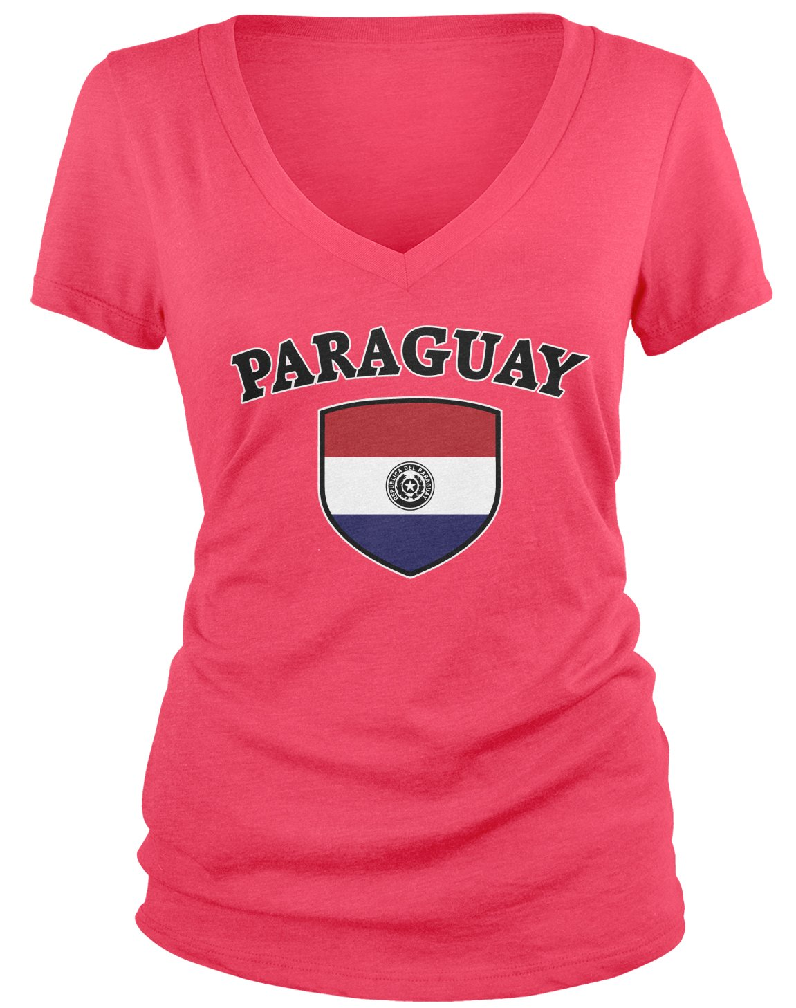 Amazon.com: Amdesco Juniors Paraguay Flag Shield, Paraguayan Pride V-Neck T-Shirt: Clothing