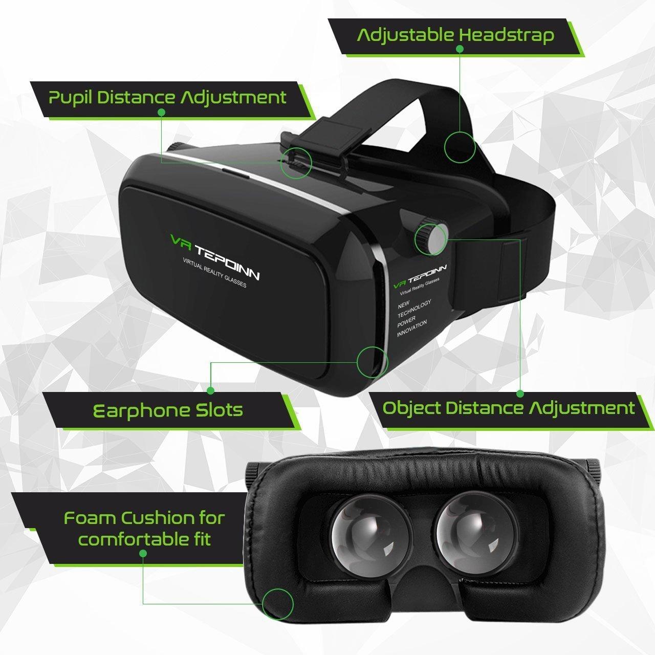 3D VR Glasses Headset with Adjustable Lens and Strap for 3.5-5.5-Inch Smart Phones (018)