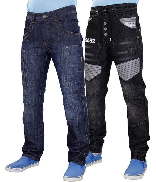 Rawcraft Pantalones vaqueros rectos de la pierna recta del ...