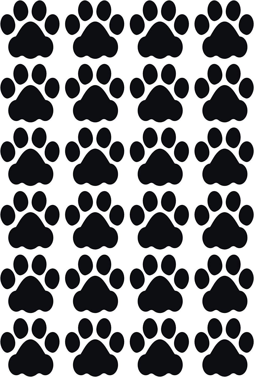 LiteMark Durable 3 Inch Dog Paw Print Decals | Floors Walls |Gloss Black (Pack of 24 Paw Prints)