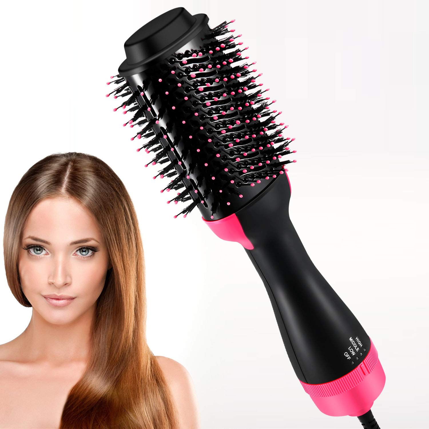 Hot Air Brush, Blow Dryer Brush, One Step Hair Dryer & Volumizer, Ceramic Electric Blow Dryer, 3 in1 Styling Brush Styler (Black/Pink) by Sheevol Beauty