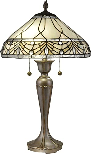 Dale Tiffany TT19049 Sabine Jewel Tiffany Table Lamp, Antique Golden Silver