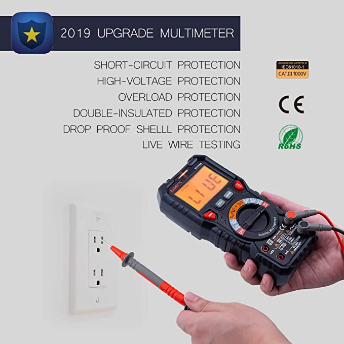 KAIWEETS Digital Multimeter, TRMS 6000 Counts Volt Meter Auto Ranging,  Measures Voltage Amp Resistance Diodes Continuity Duty-Cycle Capacitance