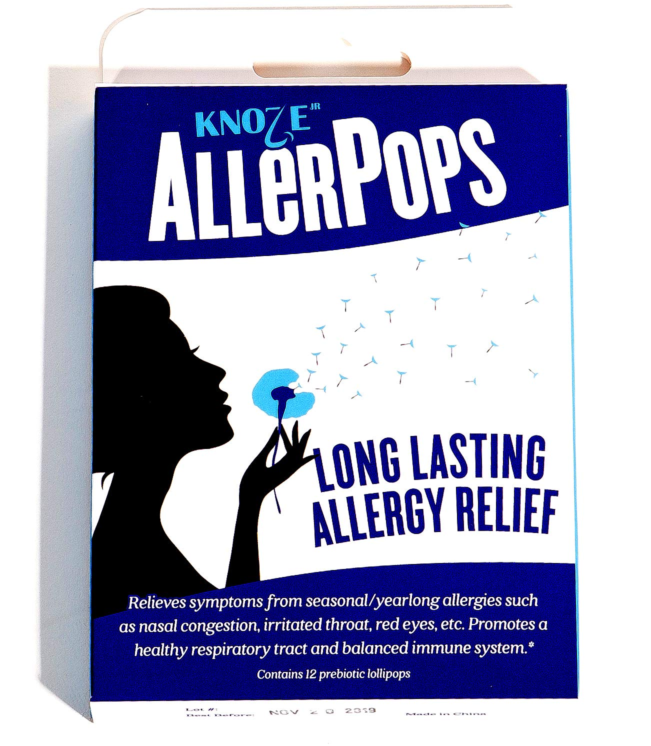 AllerPops Prebiotic Lollipops, for Sinus and Nasal Health, Seasonal and All Year Long, Natural Supplement for a Tamed Immune System around Airway, 12 Pops. by Knoze Jr