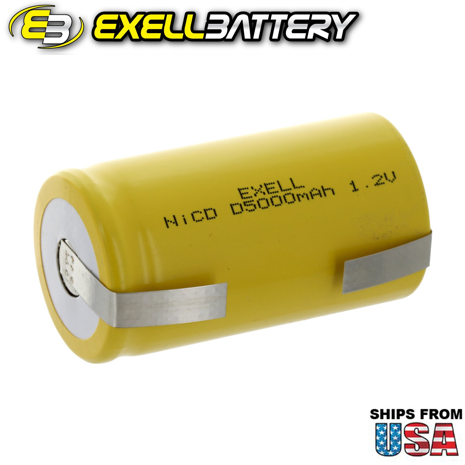 20x Exell D Size 1.2V 5000mAh NiCD Rechargeable Batteries with Tabs for medical instruments/equipment, electric razors, toothbrushes, radio controlled devices, electric tools by Exell Battery (Image #2)
