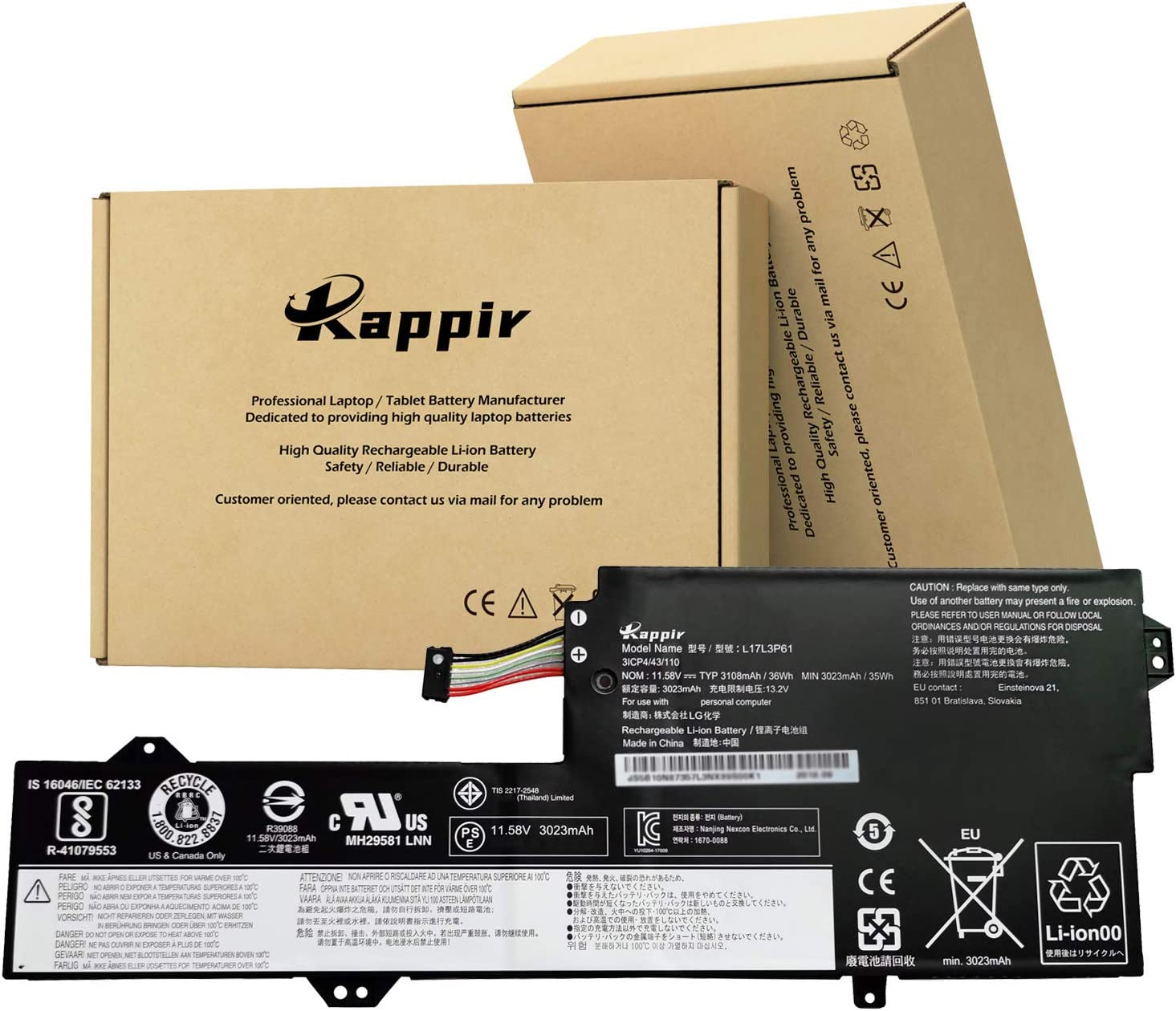 BOWEIRUI L17L3P61 (11.58V 36Wh 3108mAh) Laptop Battery Replacement for Lenovo IdeaPad Yoga 720-12IKB Yoga 520-12 320-11 320S-13IKB Xiaoxin 7000-13 Series L17C3P61 L17M3P61 (Type A)