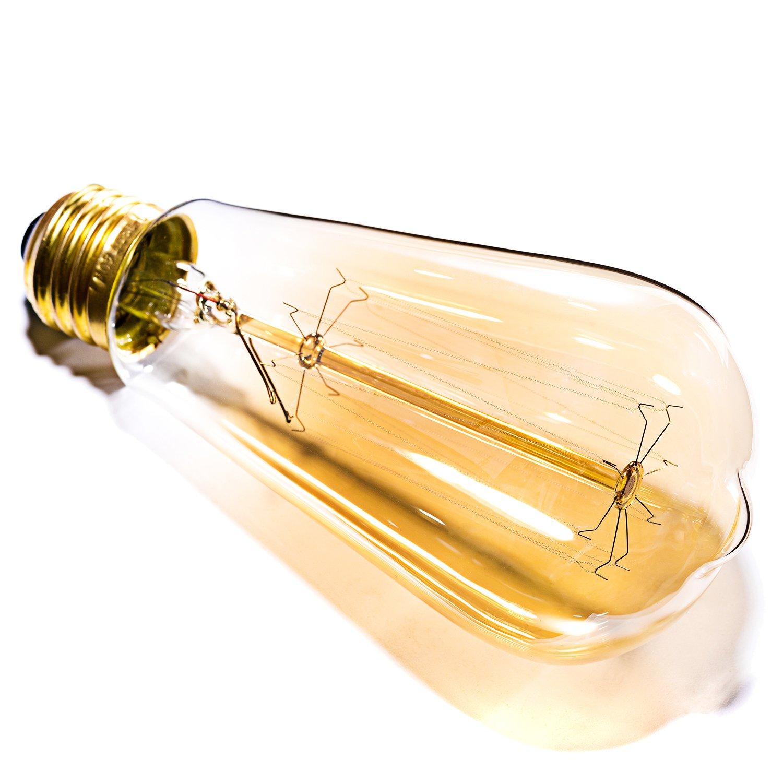 Oak Leaf Incandescent Light Bulbs 40 Watt, Amber Bulb 40W Edison Bulb Vintage Antique Filament Light Bulbs, 2400K Warm White(Amber Glow),Medium Screw Base E26,6 Pack by Oak Leaf (Image #3)