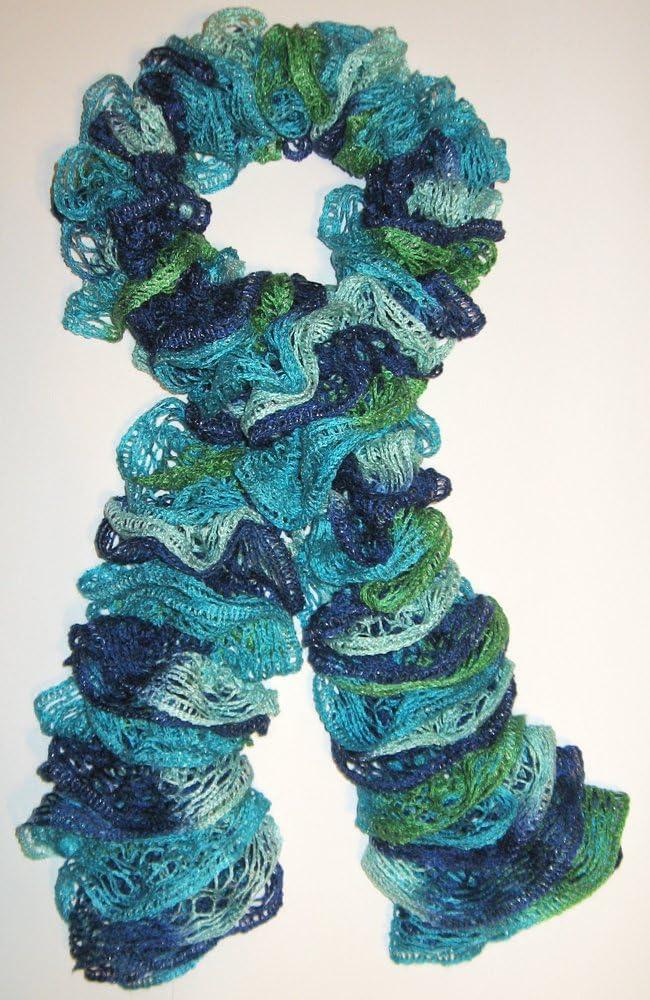 Handmade Crocheted Fashion Ruffle Scarf Greens