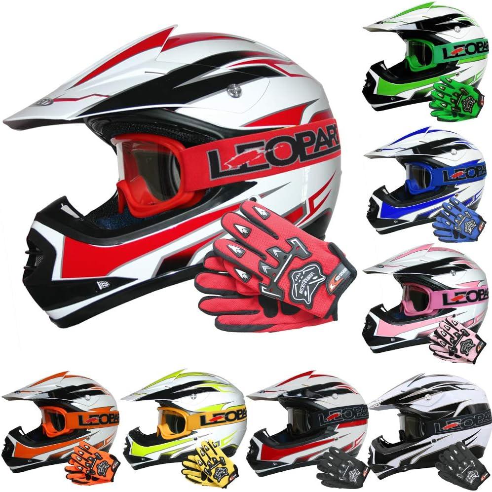 49-50cm Green//White S Leopard LEO-X17 KIDS MOTOCROSS HELMET Children Quad Dirt Bike Crash Motorbike ATV Helmet