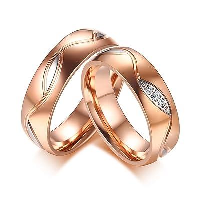 livraison gratuite 9f103 14ebc AnazoZ Alliance Homme Femme Bague de Mariage Couple Acier ...