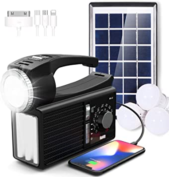 Raddy RF-L3 Radio Solar y Recargable de Emergencia Bluetooth Am-FM Radio con Luces Solares Exteriores, Batería de 4800mAh y Carga Solar para Camping