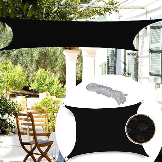 GDMING Vela De Sombra Rectángulo Malla Sombra De Red con D-Ring Bloque UV Impermeable Toldo para Instalación Al Aire Libre Patio Jardín,5 Colores,13 Tamaños-180GSM- (Color : Black, Size : 4x4m): Amazon.es: Hogar