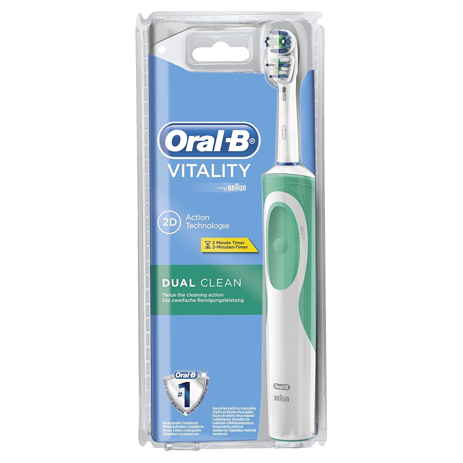 oral b vitality dual clean brosse dents lectrique rechargeable ebay. Black Bedroom Furniture Sets. Home Design Ideas