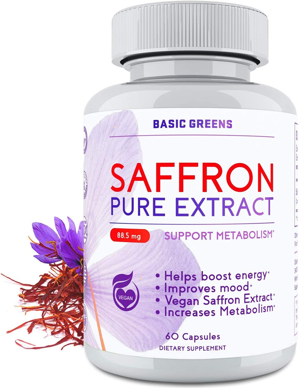 Appetite Suppressant Saffron Supplement and Weight Loss for Women - Saffron Extract Supplement 88.5mg - Appetite Control - Vegan Saffron Extract (60 Capsules) by BASIC GREENS: Health & Personal Care
