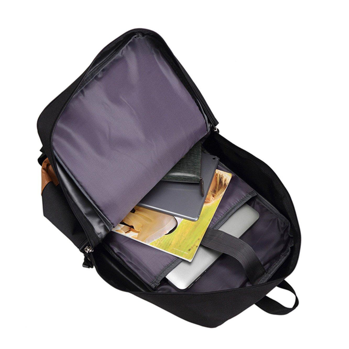 JUSTGOGO Luminous Korean Casual Backpack Daypack Laptop Bag College Bag School Bag (Black) by JUSTGOGO (Image #4)