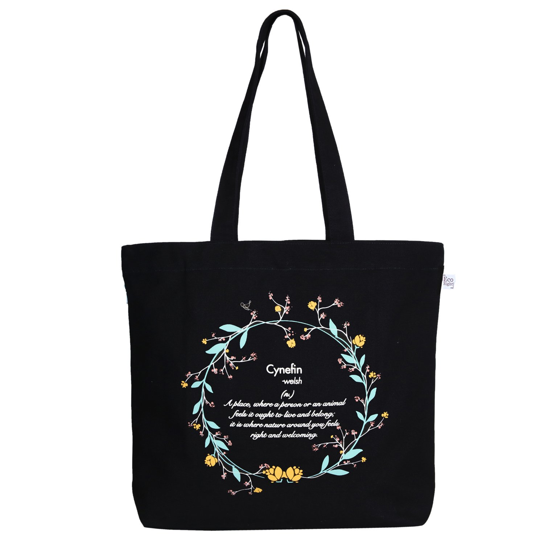 (Cynefin (Black))EcoRight Large Tote Bag Reusable 100% Cotton Canvas EcoFriendly Printed