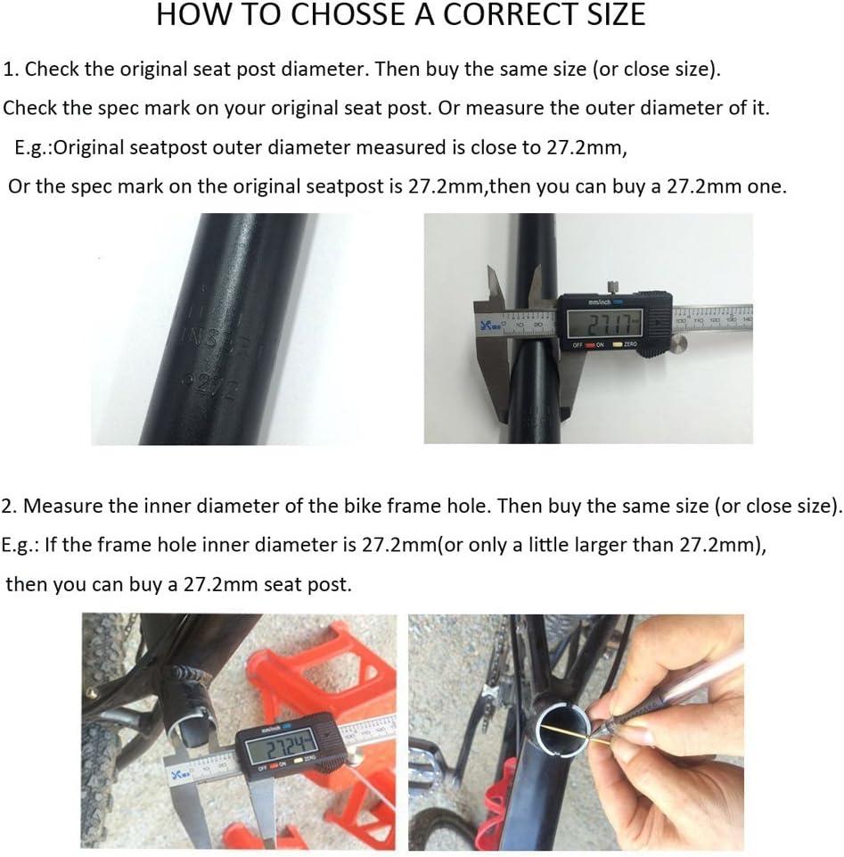 350 mm Tige de Selle pour v/élo en alliage daluminium Avec pince de r/églage Micro UPANBIKE 13.8inch