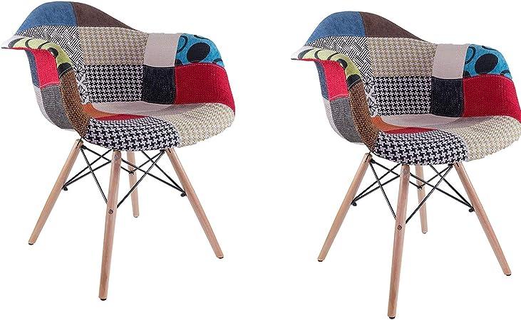 Patchwork MeillAcc Set di 2 poltrone Multicolore Patchwork in Tessuto di Lino per Cucina Moderne Poltroncina Patchwork Camera da Letto con Schienale e Braccioli Gambe in Legno