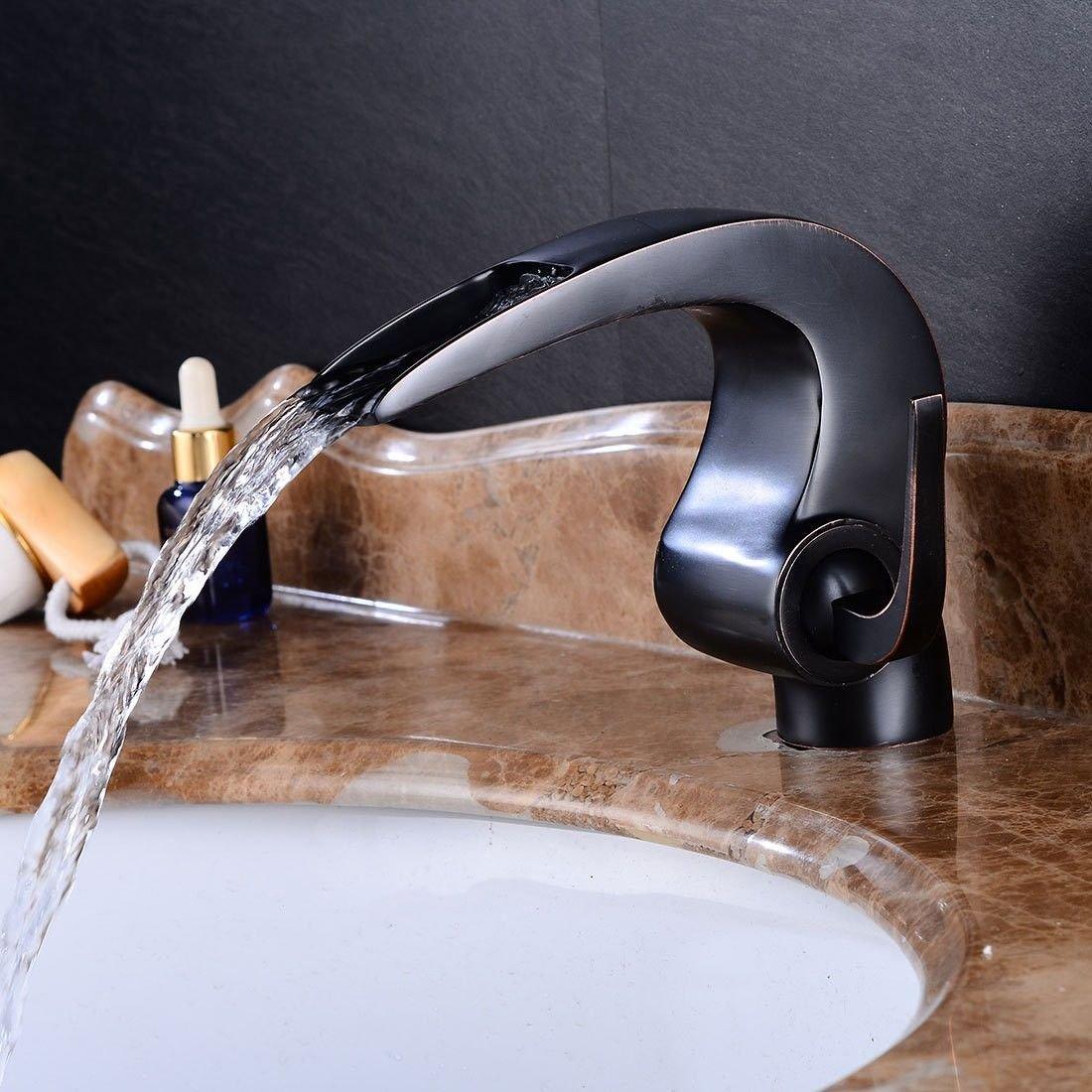 NewBorn Faucet Wasserhähne Warmes und Kaltes Wasser super Qualität Antike Messing schwarz Einzigen Griff Ein Loch Keramik Ventil fällt aus Dem Wasser und Kaltes Wasser, Badezimmer Waschtisch Armatur