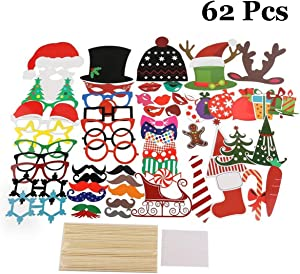 LLOP Christmas Props, 66 Pieces Christmas Photo Booth Props Kit, DIY Xmas Decorations Party Favors Supplies Years Children Birthday, Pose Sign Santa Claus Deer Horn Hat
