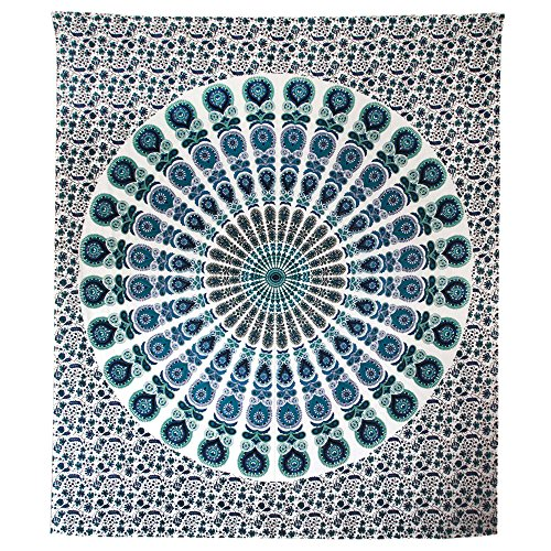 NOVICA Blue and White Cotton Beach Cottage Floral Wall Tapestry 'White Mandala Harmony'