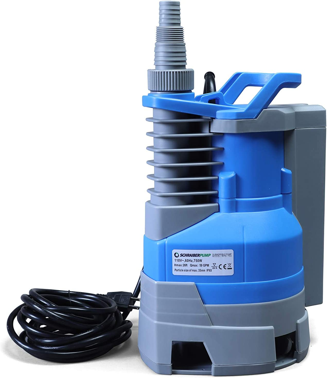 Submersible Clean/Dirty Water Sump Pump 1/2hp with built in automatic ON/OFF (with adjustable start heights) 2400GPH, 16'Head, Thermal Protector, Copper Winding - Schraiberpump