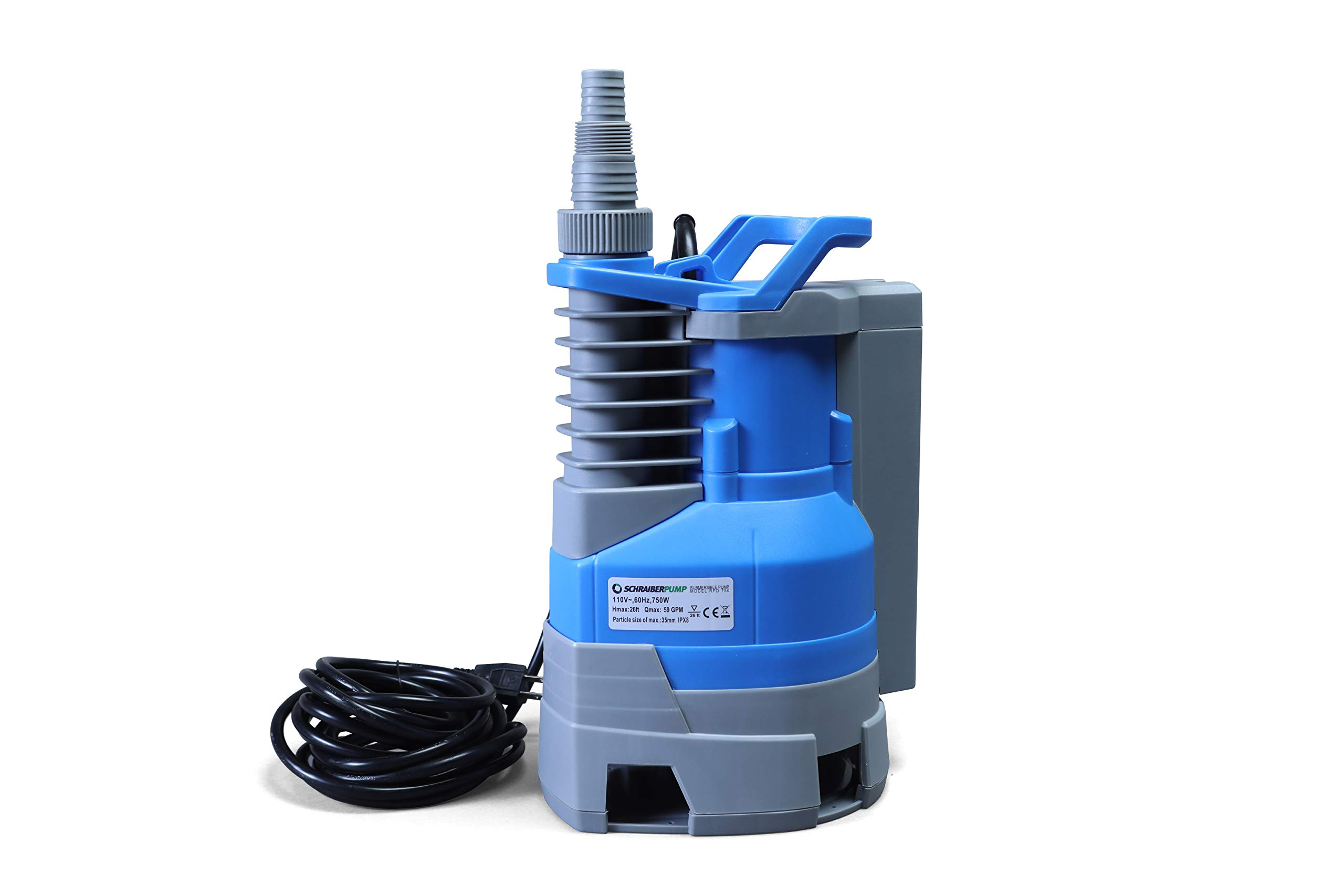 Submersible Clean/Dirty Water Sump Pump 1hp with built in automatic ON/OFF (with adjustable start and stop heights) 3540GPH, 26'Head, Thermal Protector, Copper Winding - Schraiberpump