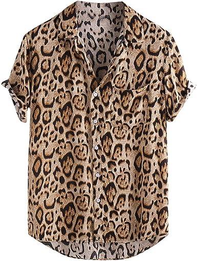 Camiseta de Manga Corta con Estampado de Leopardo para Hombre: Amazon.es: Ropa y accesorios