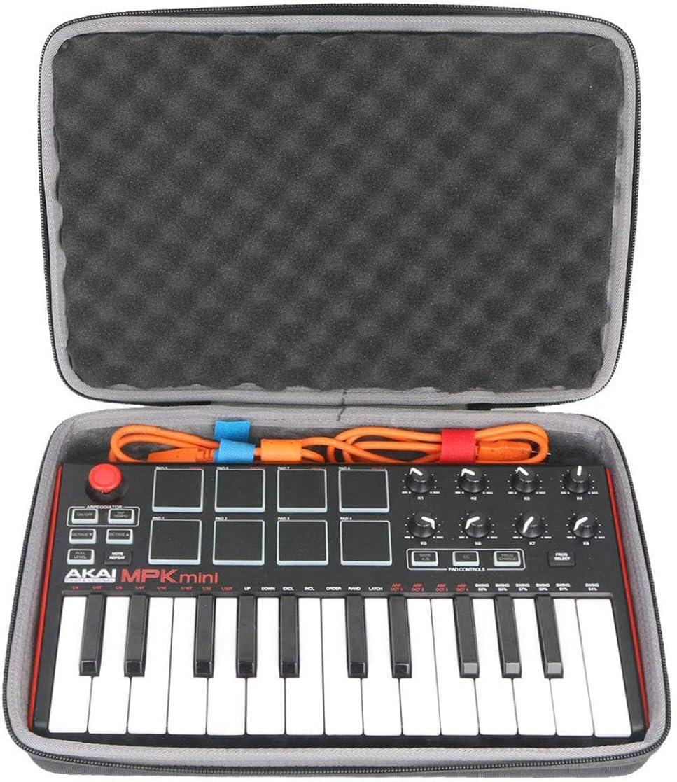 co2CREA Travel Hard Case for AKAI Professional MPK Mini MKII//MPK Mini MK3 //MPK Mini Play Case Only 25 Key USB MIDI Keyboard Controller