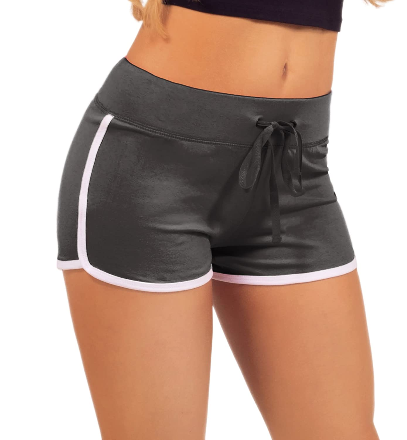 Hot From Hollywood Women's Elastic Waist White Outline Active Lounge Shorts PA0045-SHRTS-POPB-WMS