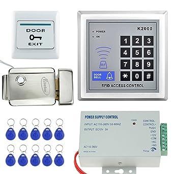 LIBO Kit Conjunto de Kit de Sistema de Control de Acceso RFID Teclado Independiente con Metal