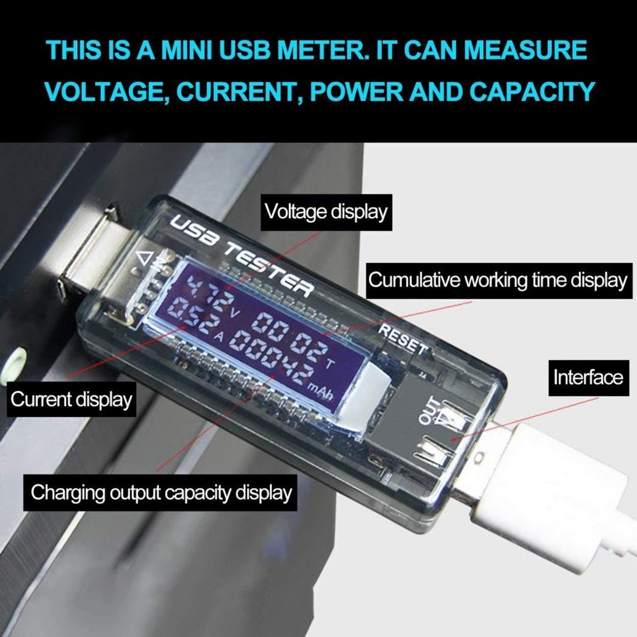 Lorenlli LCD Detector USB Voltaje actual Voltaje actual Doctor Cargador Capacidad Plug and Play Banco de potencia Probador Medidor Voltímetro Amperímetro: ...