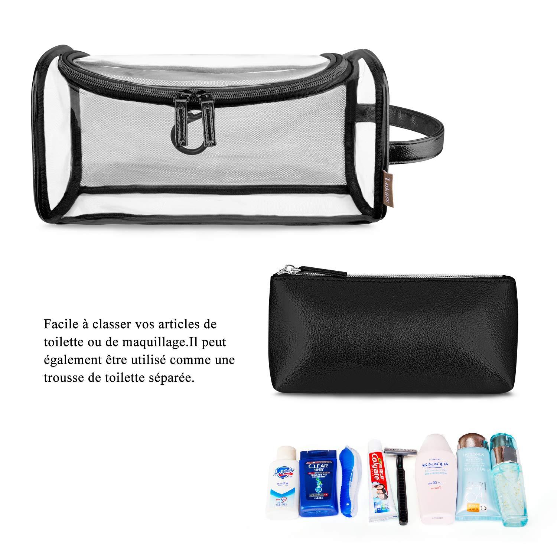 3536594c36 Srotek Trousse de Maquillage Transparent Trousse de Toilette en PVC et Cuir  pour Femmes Fille Ado Sac Cosmétique de Voyage Portable Pochette de  Maquillage ...