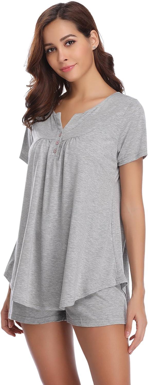 Hawiton Donna Tuta Estiva Set Pigiama da Notte in Cotone Due Pezzi T-Shirt Tops Pantaloni Corti Casual Mare Spiaggia Rosa L