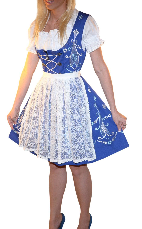 Dirndl Trachten Haus 3-piece Short German Wear Party Oktoberfest Waitress Dress 12 42 Blue