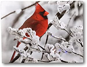 BANBERRY DESIGNS Cardinal Canvas Print - Red Cardinal on a Snowy Branch - LED Lighted Print with 40 Fiber Optic Lights in The Branches - Winter Scene Christmas Pictures