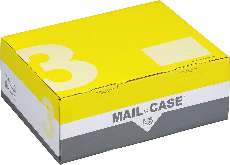 Nips 141673192 Mail-Case 3 - 10 Estuches de cartón para envío, con solapa de cierre, 445 x 355 x 155 mm, diseño trapezoidal, color amarillo y gris: Amazon.es: Oficina y papelería
