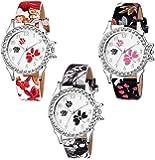 Swadesi Stuff Diamond Studded Analogue White Dial Multi Colored Leather Strap Luxury Fashion Watch for Women & Girls