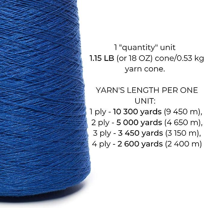 LUXE COTTON Yarn Cone  Blue  Knitting Loom Navy Yarn Loom Yarn Yarn on Cone  Mercerized  Luxe Cotton Crochet Cotton Weaving