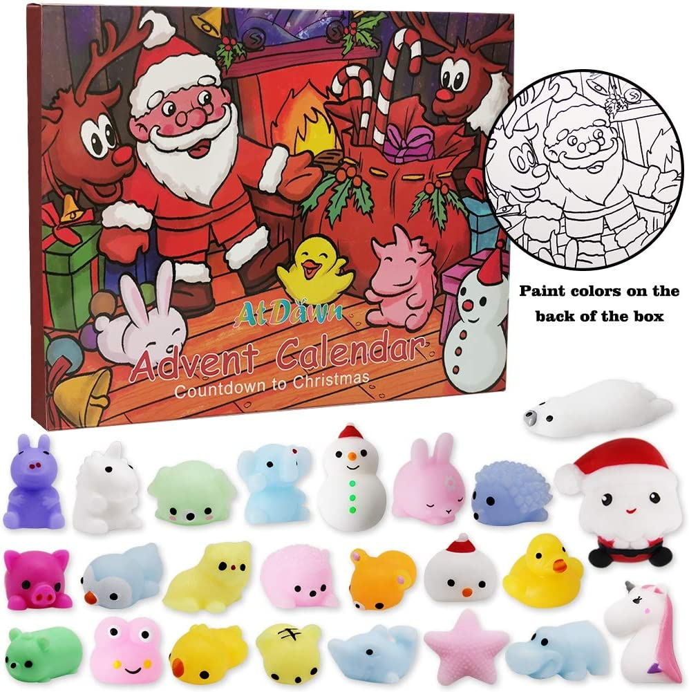 ATDAWN Christmas Countdown Advent Calendar with 24 Squishy Toys
