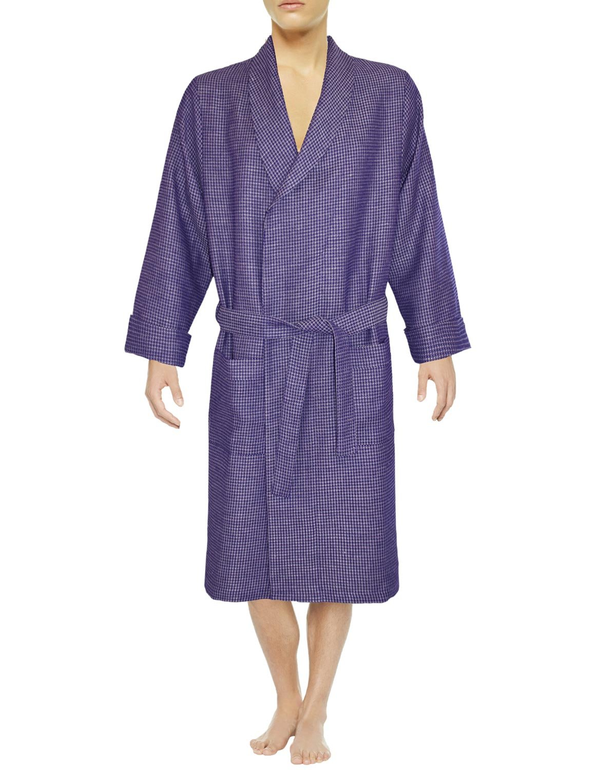 Armani International Men's Waffle Bath Robe Large Indigo/Beige